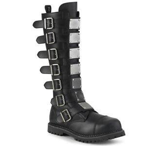 Demonia RIOT-21MP Men's Punk Combat Ska Costume Steel Toe Rubber Knee Boots