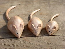 Wooden Mice Mouse Hand Carved Set Of 3.....