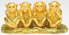 Feng Shui Gold See No Evil, Hear No Evil, Speak No Evil Monkey Statue Figurine