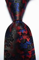 New Classic Floral Black Red Blue JACQUARD WOVEN 100% Silk Men's Tie Necktie
