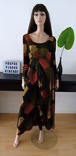 robe longue vintage 70's PARA COUTURE imprimé géométrique taille 48 - uk 20