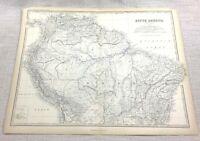 1861 Antik Map Of Brazil Südamerika Peru Die Amazon Hand- Farbig Johnston