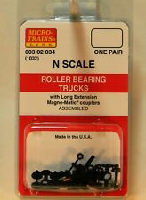 NEW Micro-Trains 00302034 Roller Bearing Trucks Long Extension Couplers 1 Pr
