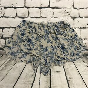 American Eagle AEO Women's Shorts Floral Gray Blue Open Split Sides Tie Medium