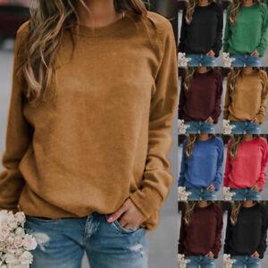 Womens Ladies Autumn Girls Loose Long Sleeve Tee Blouse Pure Plain Shirt Tops UK