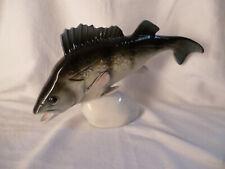 Royal Dux schöne große Figur eines Fisch Hecht handgemalt farbig staffiert