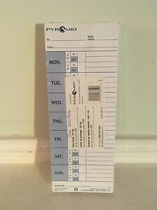 Pyramid Time Cards 331-11 Pack of 100 for 1000 Series Time Clock