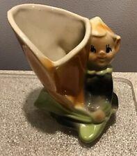 Vintage Shawnee (?) Elf Pixie vase orange green Adorable