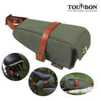 Tourbon Bike Saddle Bag Bicycle Pannier Rear Seat Pouch Wedge Case Canvas Green