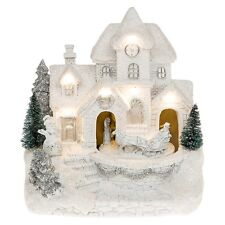 Large Christmas Festive Frosted Snow LED House with Moving Santa Xmas Decoration
