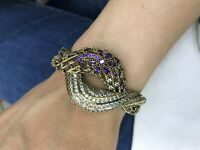 Turkish Handmade Amethyst Sterling Silver 925 Bracelet Bangle Cuff