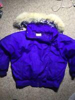 VTG 80s OBERMYER SPORT Dynasty Purple Down Filled fur hood snow ski jacket sz 10