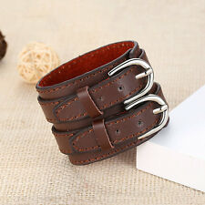 New Fashion Punk Gothic Genuine Leather Belt Mens Bracelet Wristband Bangle Cuff