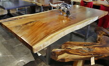 "96"" Dining table acacia wood slab live edge free form stainless steel legs"