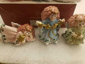 NEW Fitz and Floyd Moon Beams Tumbling Angels Christmas Figurines Set of 3