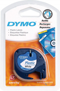 Dymo LetraTag Plastic Label Tape, 12 mm x 4 m Roll, White