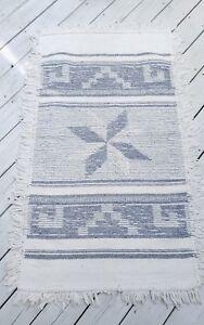 Woven churro wool tapestry rug southwest Navajo sheep Gray & Ivory 5'4 x 3'