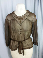 Antique 1920s Brown Sheer Chiffon Embroidery Blouse w/Waist tie-Bust 38/ S-M