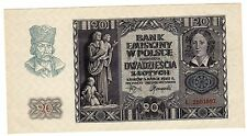 Pologne POLAND Billet 20 ZLOTYCH 1940 WWII  P95 GERMANY OCCUPATION NEUF UNC
