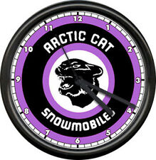 Arctic Cat Snowmobile Racing Dealer Purple Retro Logo Sign Wall Clock