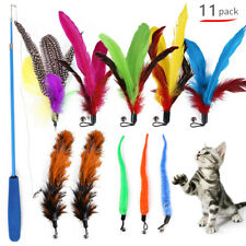 Pet Funny Cat Toy Set Telescopic Stick Replacement Feather Bell Interactive Toys