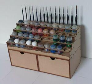 Rangement Peinture Citadel 40 Pots 16 Pinceaux 2 tiroirs profonds Paint Rack GW