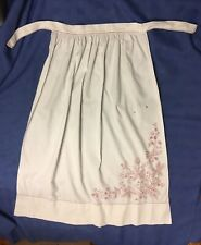Vintage Antique Embroidered Redwork Poinsettia Apron Pin On White and Clean