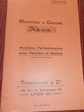 CATALOGUE ANCIEN MACHINE A COUDRE NEVA ( ref 44 )