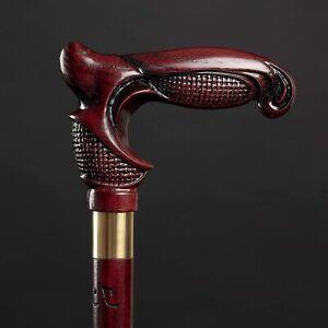 Vinous Derby Walking Stick - Dark Red Hiking Cane for Gift - Ergonomic Handle
