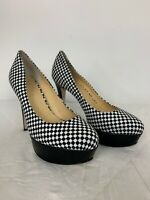 Wittner Women's Parisi Black Check Fabric Leather Platform Heel 8 A1-15