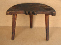 Old Antique Primitive Wooden Wood Chair Three Legged Milking Stool Rustic 20th.