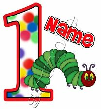 IRON ON TRANSFER PERSONALISED birthday lookalike CATERPILLAR GREEN very hungry