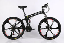 26in Black Full Suspension 21 Speed Folding Man Mountain Bike Seal Axial