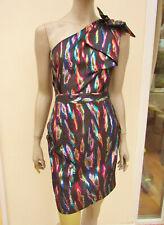 Next - BNWT RRP £45 - Black Gold Multi Sparkly One Shoulder Mini Dress - size 12