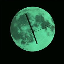 Acrylic Glow In the Dark Wall Clock DIY Round Luminous Moon Wall Clock