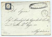FRANCOBOLLI 1862 REGNO 20 CENTESIMI BORDO DI FOGLIO SU BUSTA PALERMO D/8024