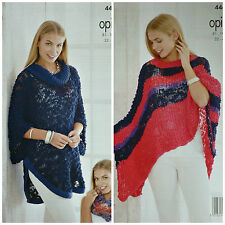 KNITTING PATTERN Womens Cowl Neck Cape Striped Poncho Cowl/Snood Opium 4468