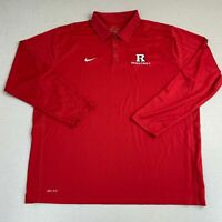 Nike Dri-Fit Polo Shirt Mens 2XL Red Long Sleeve Rutgers University Basketball