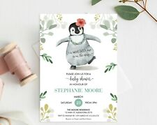 Penguin Baby Shower Invitation Personalised Boy Girl Sprinkle Shower YOU PRINT