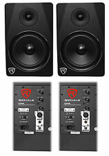 "(2) Rockville DPM8B Dual Powered 8"" 600 Watt Active Studio Monitor Speakers"