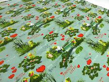 Reststoff 20x150cm Baumwolle Jersey Kermit Frösche Herzen mint grün Kinderstoff