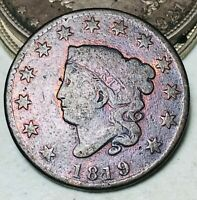 1819 Large Cent Coronet Head 1C Ungraded Good Date Early US Copper Coin CC5880