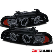 For 1996-2003 BMW 5-Series LED DRL Glossy Black Smoke Projector Headlights Pair
