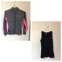 Ladies Sports Vest Black & Pink And Jacket Pink And Grey Size 8 Fitness Sport