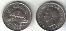 Canadian 1938 nickel beaver King George VI Canada 5 cent coin round