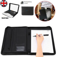 A4 Zipped Conference Folder PU Leather Document Case Holder Portfolio Office Use