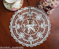 Exquisite Hand Made Venice Venetian Lace Doily Placemat Round 32CM Off White