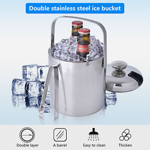 Beverage Ice Bucket w/ Ice Tongs &Lid【Stainless Steel, Double-walled Insulation】
