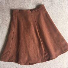 Vintage Wool Mohair Blend Skirt Size 12 Brown Lined A-Line Cottagecore Landgirl