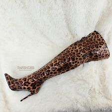"""CR Boom Patent Leopard 4"""" High Heel Wide Top Back Zipper Pointy Toe Thigh Boots"""